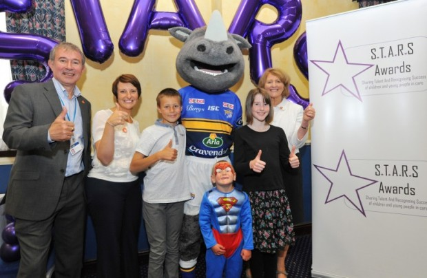 Nigel Richardson, Cllr Lucinda Yeadon (left) and Children Commissioner Anne Longfield (right) are joined by Ronnie the Rhino and Stars award winners