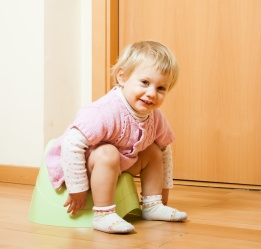Toddler on potty at home interior